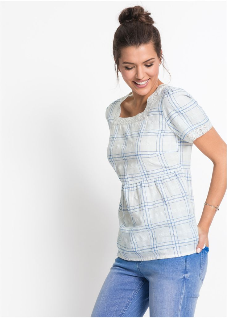 Jetzt anschauen: Die karierte Kurzarm-Tunika mit Spitze zaubert mit ihrem taillierten Schnitt eine prima Figur und sorgt für einen modischen Look. Am Carré-Ausschnitt und an den Ärmelsäumen setzen die Spitzeneinsätze süße Akzente und verleihen der Bluse von John Baner ihr romantisches Aussehen. Das karierte Muster sieht super aus zu Jeanswear und lässt sich beliebig stylen.  In Kombination mit einer 7/8-Jeans und Freizeitschuhen macht das komfortable Modell ein lockeres Outfit für die Fr...