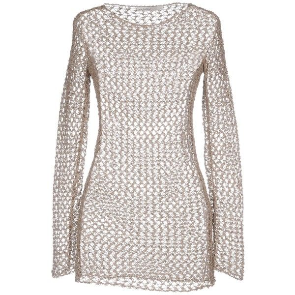 Gentryportofino Jumper ($180) ❤ liked on Polyvore featuring tops, sweaters, beige, metallic long sleeve top, metallic top, white long sleeve top, metallic sweater and white sweater