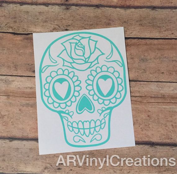 Girly Sugar Skull Car Laptop Decal by ARVinylCreations on Etsy