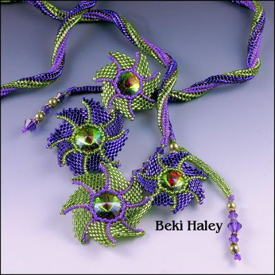 Sweet Beadwork here in great colors  via  Beki's Beading Blog