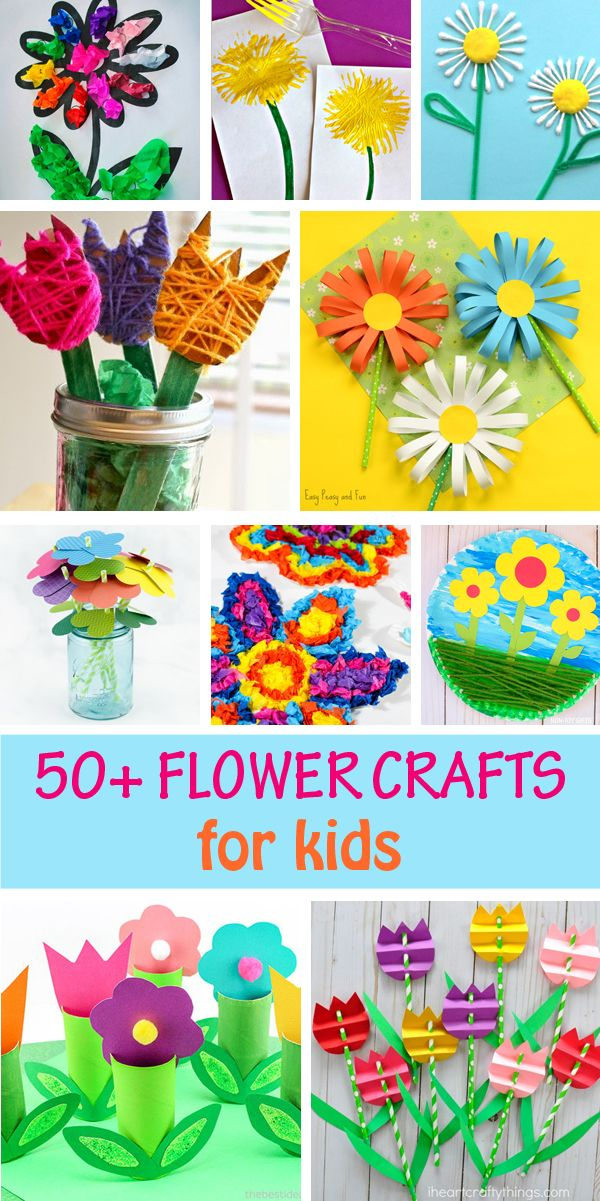 Flower crafts for kids to make this spring / summer or for Mother's Day. Create with paper rolls, paper plate, egg carton, yarn, tissue paper and craft tulips, daisy, roses and other easy flowers. #flowers #flowercraft #spring #springcraft #kidsactivities