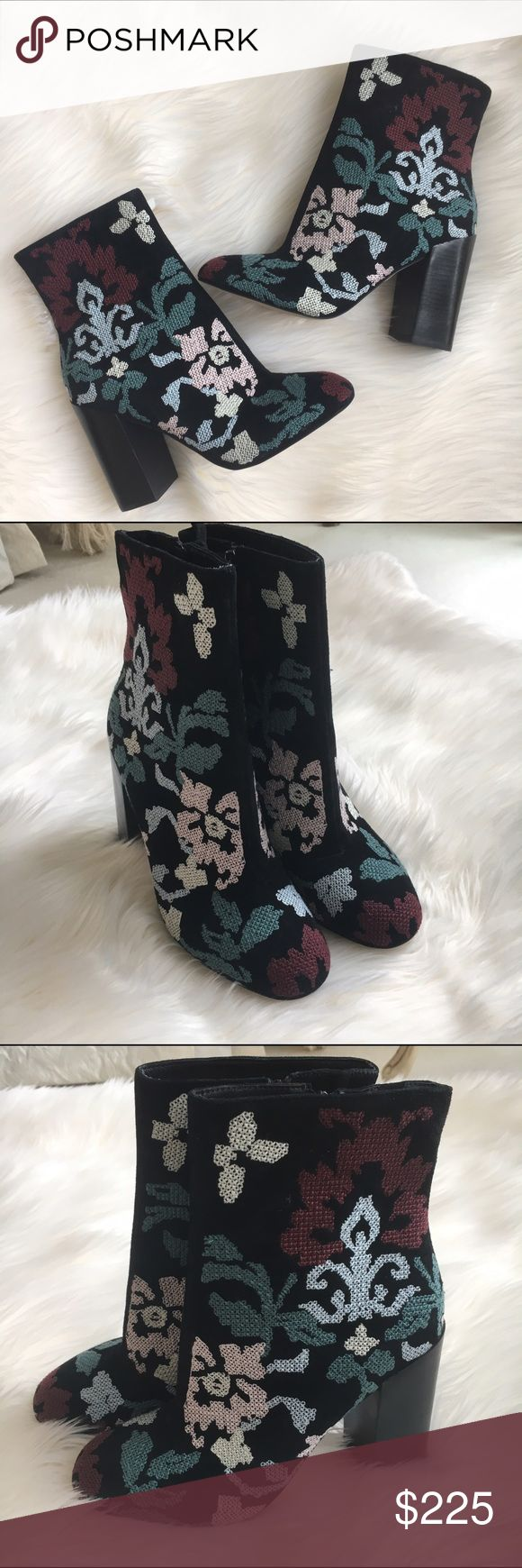 Rebecca Minkoff boots.    NWOT Black suede boots with embroidery by Rebecca Minkoff. New! Authentic 🚫trades Rebecca Minkoff Shoes Ankle Boots & Booties