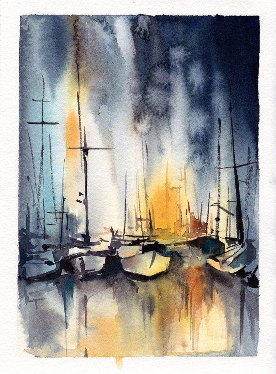 Original Watercolor Painting, Nautical Painting, Sailboats Painting, Watercolour…