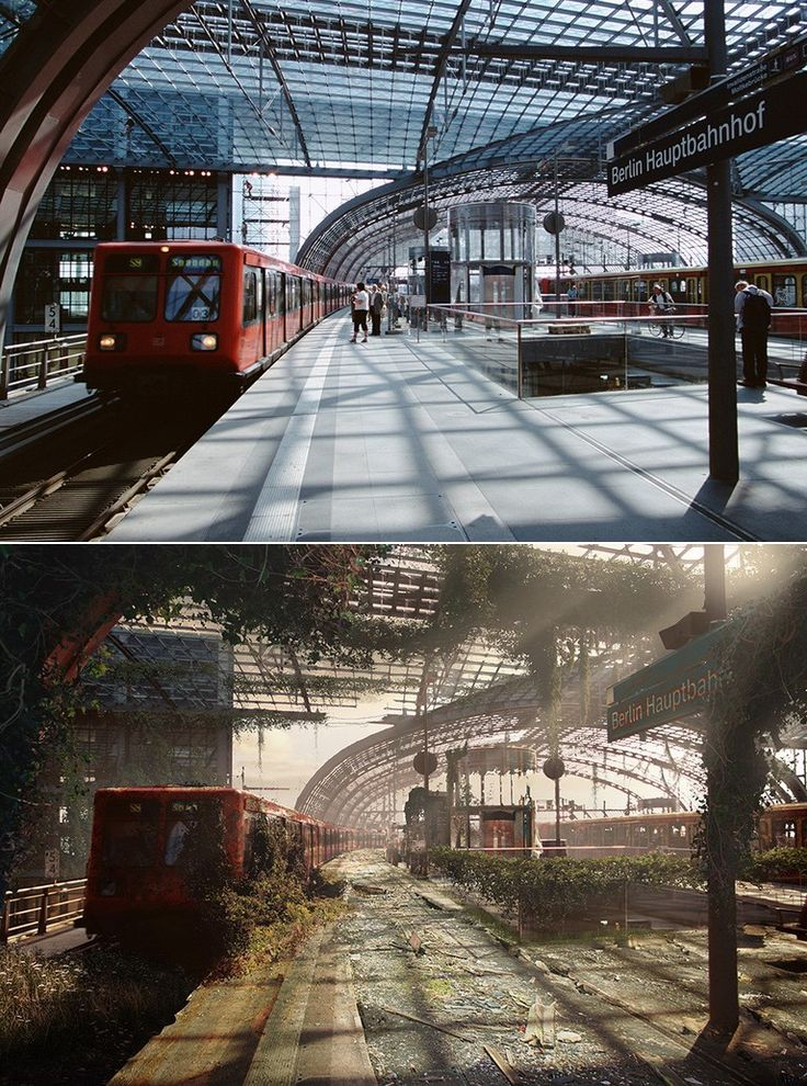 Gorgeous apocalyptic art done by the Naughty Dog team (The Last of Us) - check out the album for the rest! Before and after pics, a bunch of them. <3