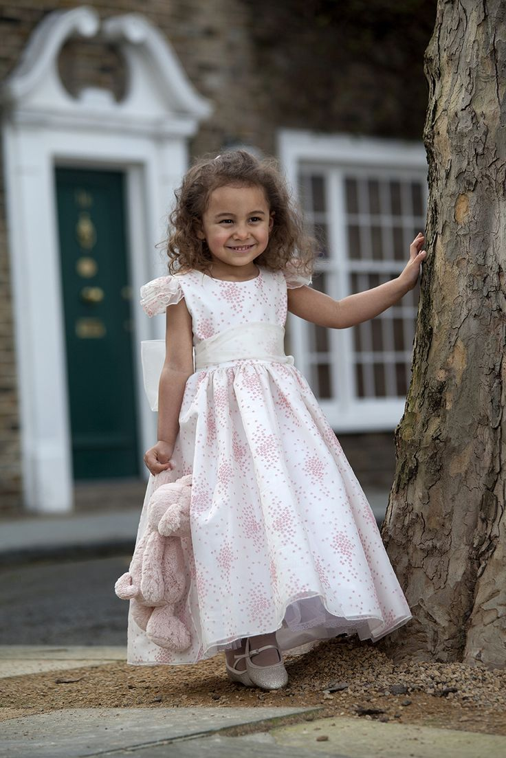 85 best flowergirls bridesmaid dresses images on pinterest michelle in a beautiful ivory and pink dotted pattern girls bridesmaid ombrellifo Images