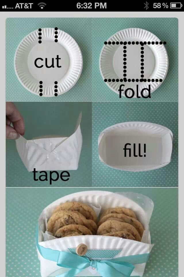 Paper plate made into a bowl for snacks or cookies