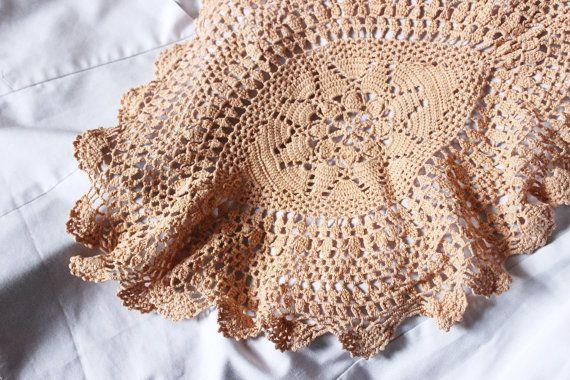 Crocheted beige tablecloth. Crochet beige napkin. by EttarielArt  #Crochetedbeigetablecloth