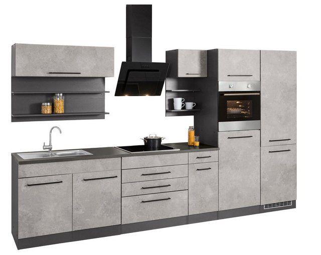 Kuchenzeile Tulsa Mit E Geraten Breite 350 Cm Small Kitchen Cabinets Kitchen Cabinet Sizes Modern Grey Kitchen