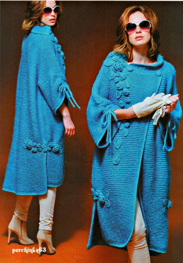 Пальто связанное спицами в стиле бохо - Perchinka63