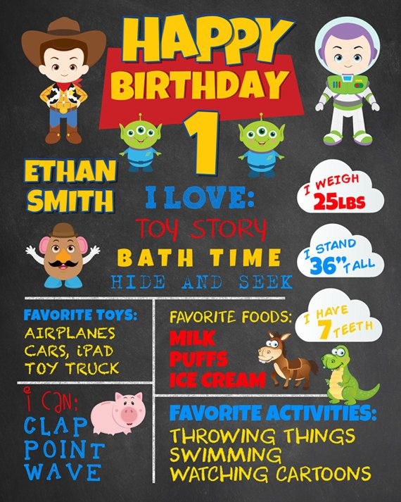 First Birthday Chalkboard Toy Story Party. Woody, Buzz Lightyear Boy 1st Birthday Chalk Board Custom Printable. Pixar. Lightning. Cars.