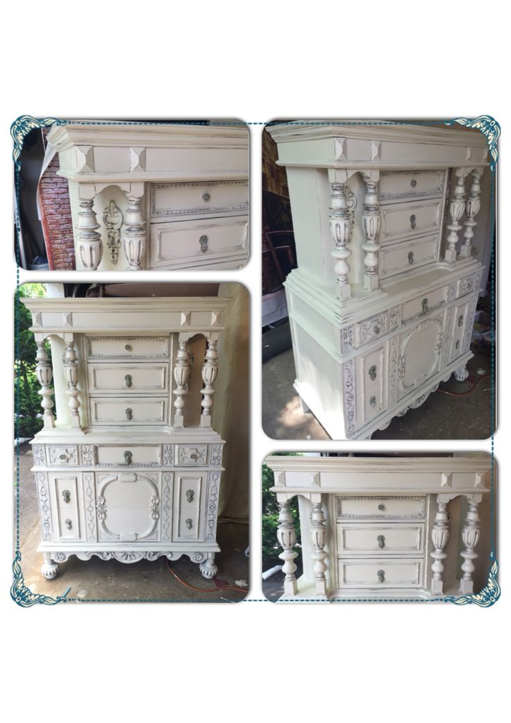 Refinished By Deja Vu Furniture Design In Benjamin Mooreu0027s Navajo White  Mixed Into Chalk Paint .