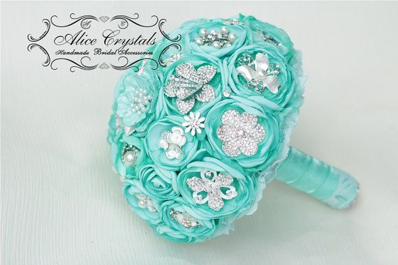 Brooch bouquet mint Bouquet. Textile mint by AliceCrystals on Etsy