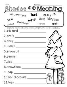free shades of meaning worksheets - Google Search