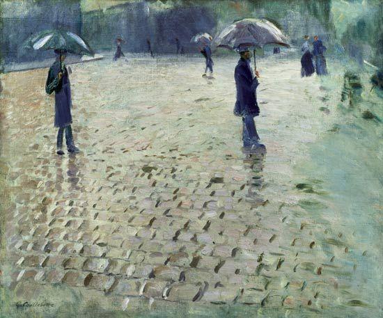 Gustave Caillebotte, 1877 - Rue de Paris, jour de pluie (étude) - Paris Street; Rainy Day - Wikipedia, the free encyclopedia