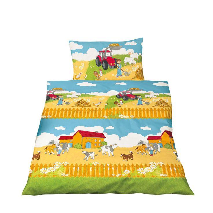 Bettwäsche 100x135 cm Baumwolle Kinder Bauernhof roter Traktor Pferd Jungen bunt