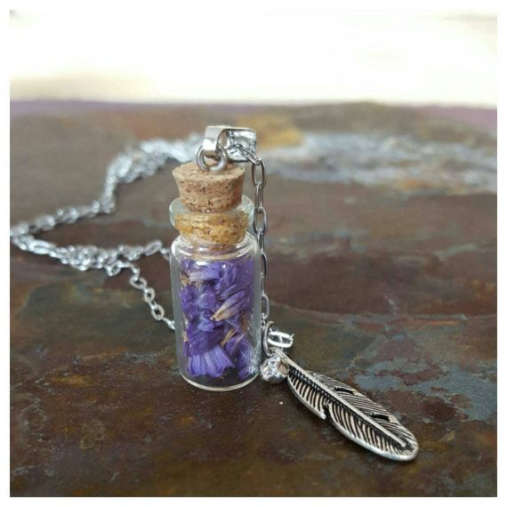 Hey, I found this really awesome Etsy listing at https://www.etsy.com/ca/listing/265378806/mini-bottle-necklace-forget-me-not