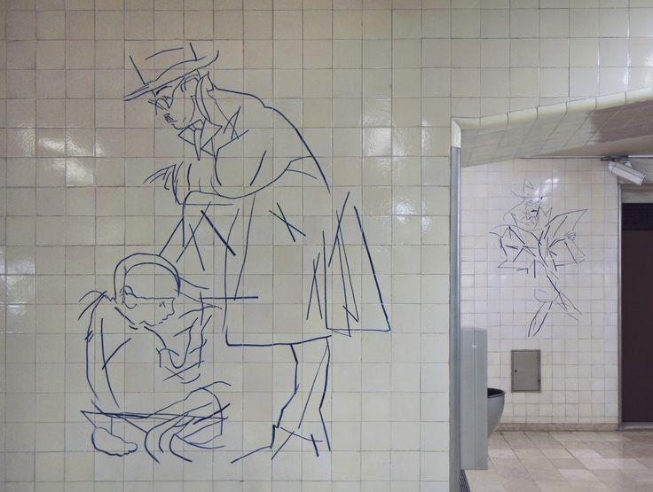 TIAGO MATOS SILVA - Júlio Pomar (1926-) | Estação do Metropolitano de Lisboa de Alto dos Moinhos / Lisbon's Underground Station of Alto dos Moinhos #Azulejo #JúlioPomar #AzulEBranco #BlueAndWhite
