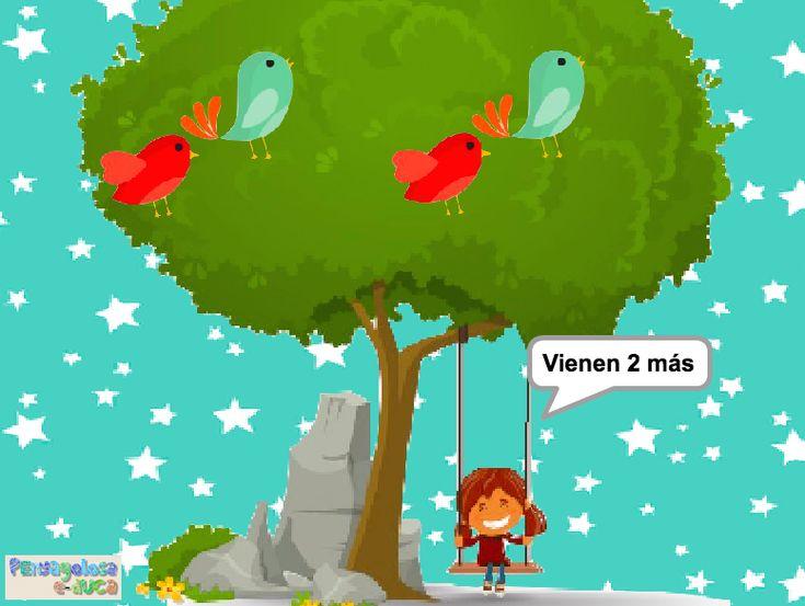 ABN – RESOLUCIÓN PROBLEMAS – NIVEL 1 – ¿Cuántos animales hay en el árbol? (1-5) – En este juego se trabaja la resolución de problemas de cambio 1. En el juego aparece una cierta cantidad de pájaros a los cuales se les unen otros más. El jugador/a debe establecer cuantos pájaros hay en total en el árbol.