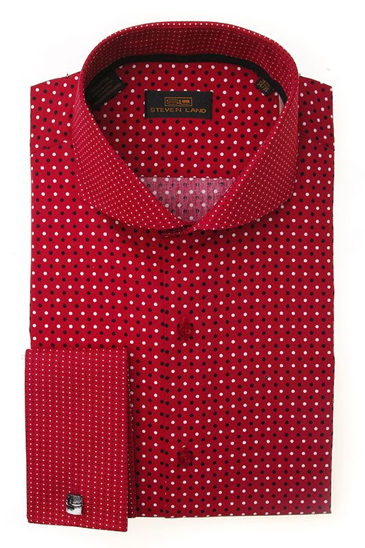 Steven Land Dress shirts  DS1246   Red $69 100% cotton dress shirts classic fit #StevenLand #Reds