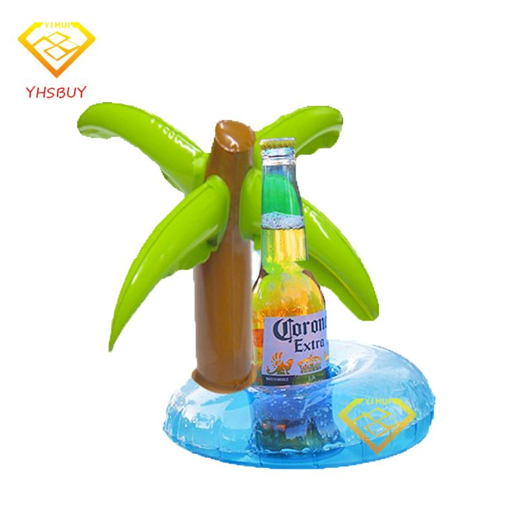 Inflatable Plam Tree Drink Pool Float Inflated Coasters Cola Beverage Cup Holder Swimming Pool Rings For Adults Children Piscina