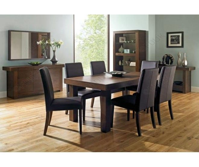 Bentley Designs Akita Walnut Dining Room Furniture Set With 6 Brown Tapered  Chairs Part 31