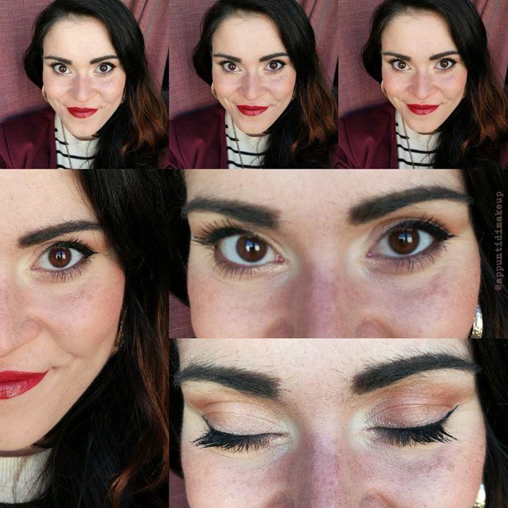 Dettaglio del trucco di oggi che è molto semplice ed è uno di quelli che ultimamente faccio spesso    come base ho usato quasi esclusivamente il fondotinta minerale JadeMinerals former Mww4u avendo cura prima di coprire i rossetti con il matitone correttore verde Purobio cosmetics e le occhiaie con il Prolongwear concealer di MAC Cosmetics   come blush una delle mie combo preferite il bellissimo B23 di UNE beauty insieme a Swiss dot di theBalm   sugli occhi una base di Paint pot Bare study…