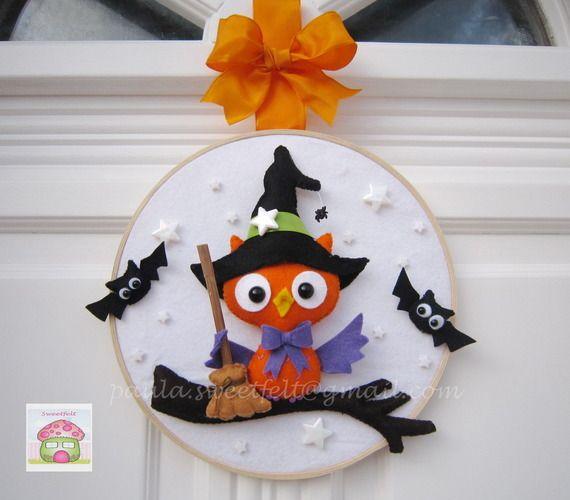 Couronne décorative pour porte  Happy Halloween
