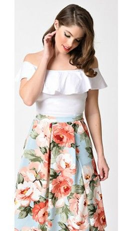 1970s Style White Ruffle Off Shoulder Crop Top