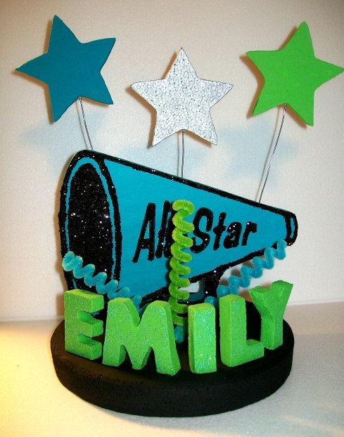 CHEERLEADER Megaphone 3D Custom PERSONALIZED Cake Topper Centerpiece. $40.00, via Etsy.