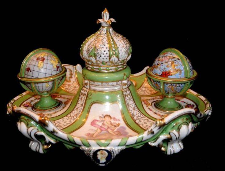 antique ceramic inkwell