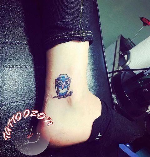 tattoozon - trabzon dövme  - ankle tiny owl top hat bough tattoo - ayak bileği minik şapkalı baykuş dövmesi