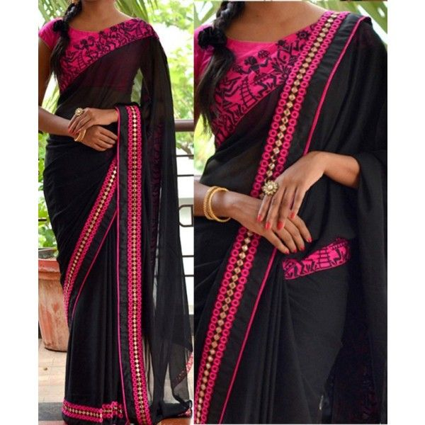 60 Gm Georgette Lace Work Black Plain Saree - NX46