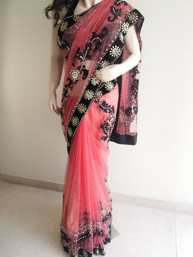 Gajari Net Saree With Velvet Border & Extensive Embroidery