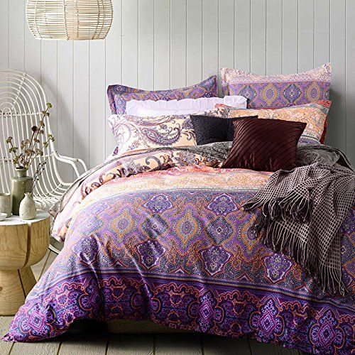 Fashion Book Cover Queen : Thefit paisley bedding r purple style boho queen