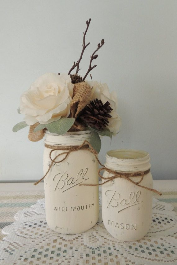 Mason Jar Vases Wedding Country home decor by TheCountryHomeShoppe