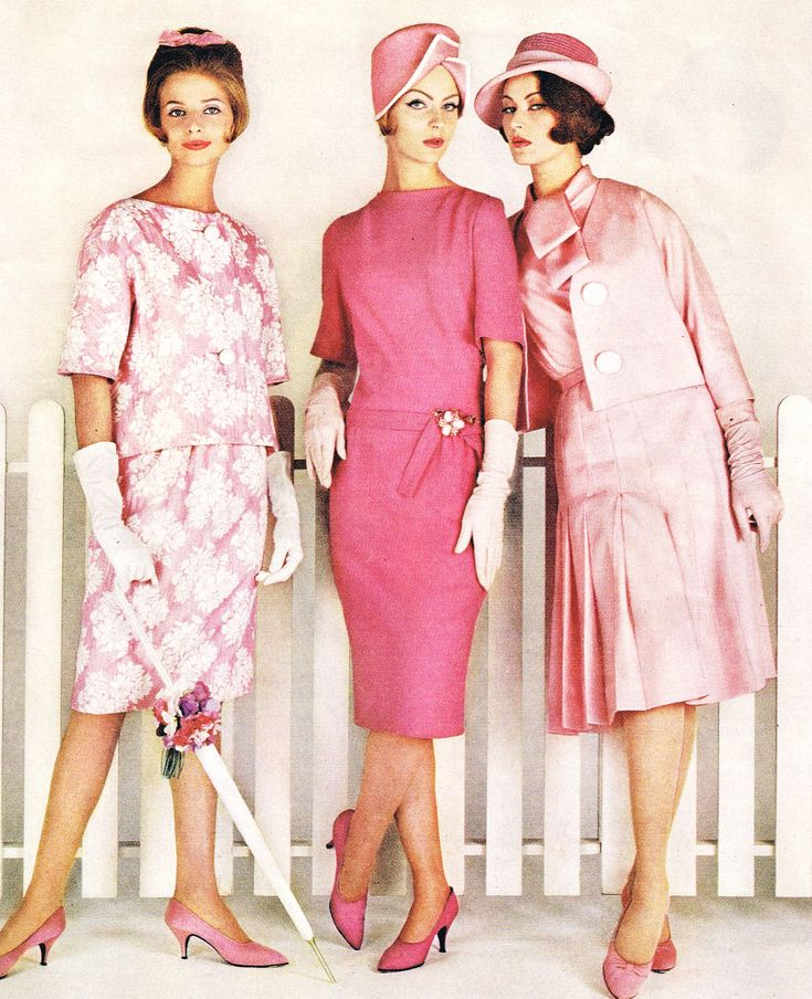 pink 60s dress sheath wiggle jacket 3/4 sleeves floral wool satin shoes hat gloves color photo print ad models magazine