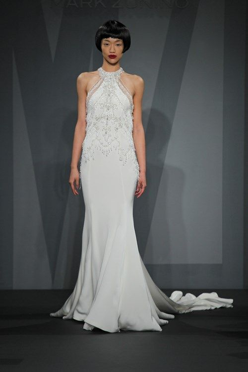Best Bridal Gowns Mark Zunino Sheath Wedding Dress with High Neck Neckline and No Waist Princess Seams Waistline