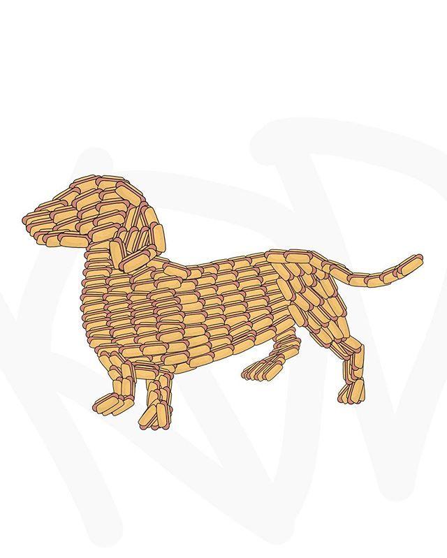 Hotdog Dog. #dog #daschund #hotdog #funny #art #doodle #kddoesdoodles