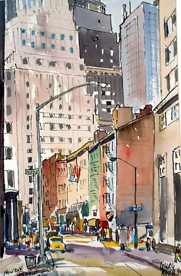 """""""New York City, Pearl Street 1994"""" by Georg Rauch. Watercolor painting."""