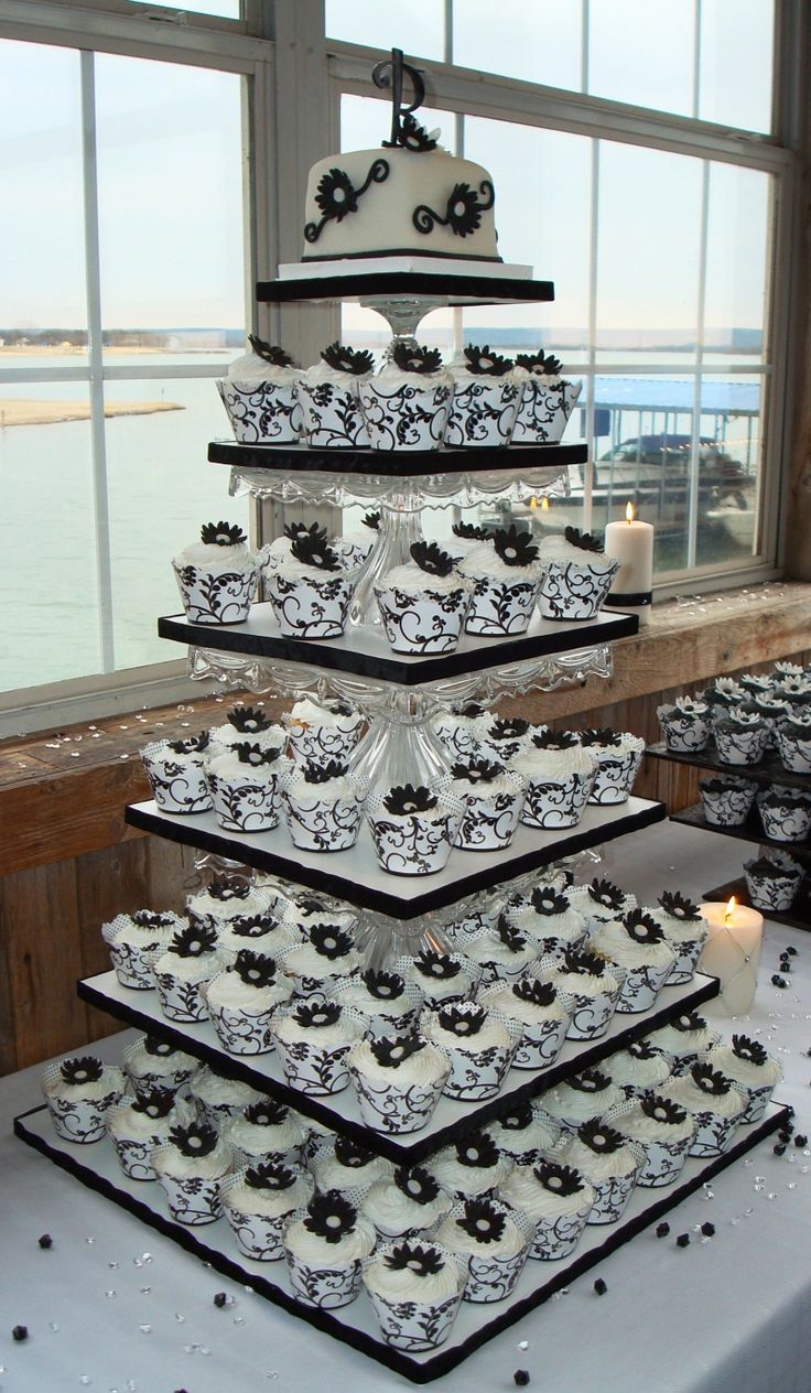cupcake Wedding Cakes | Black and White Wedding Theme - Cake and Cupcake Decoration Ideas 2013
