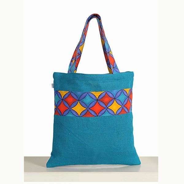 Buy Patterned Blue Colored Jute Bags & Swayam Printed Jute Bags Online- Home Drape
