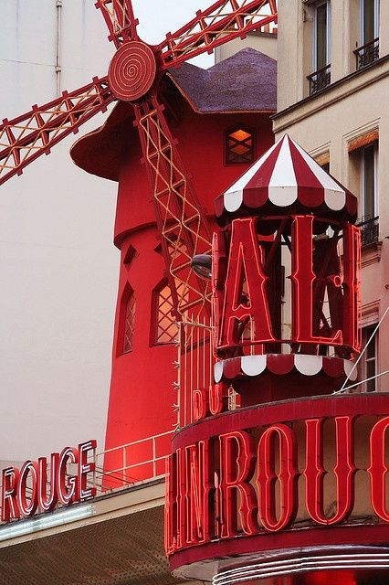 Moulin Rouge, Paris, founded 1889,  best known as the spiritual birthplace of the modern form of the can-can dance. Astrogeo pos.: in the service orientated air sign Libra the sign of angels, dancing, beauty, love and prostitution and a major indicator for stage performances. 2nd coordinate is in the highly attractive, magnetic, emotional fire sign Leo the sign of the sexuality, the Sun, french culture & of the right for emotional self-expression. Valid for field level 4.