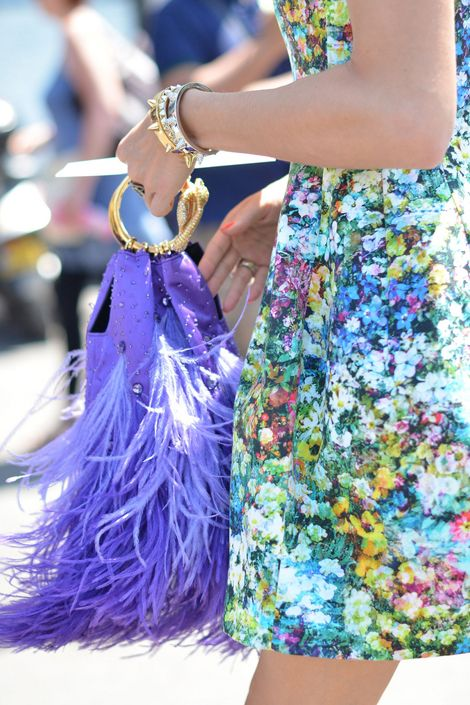 Olivia Palermo: Floral Prints, Color, Design Handbags, Street Style, Olivia Palermo, Feathers, The Dresses, Fringes, Floral Dresses