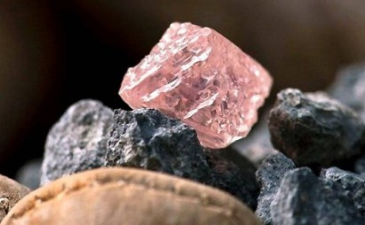 "12.76 carat rough pink diamond recovered from Rio Tinto's Argyle diamond mine in Australia. The stone has been named ""Argyle's Pink Jubilee"" and is now known as the largest pink diamond ever found in Australia."