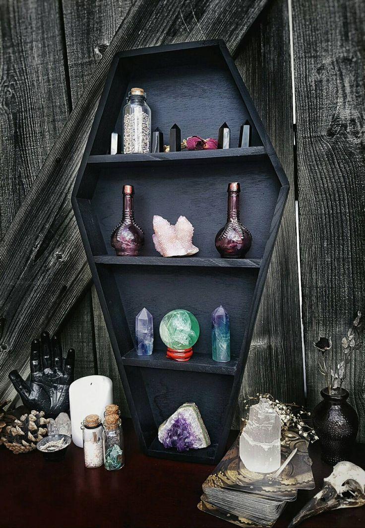 Crystal Shelf Coffin Shelf Coffin Display Crystal Display Gothic Decor Gothic Display Shelf Home Decor Goth Wiccan Witch Coffin