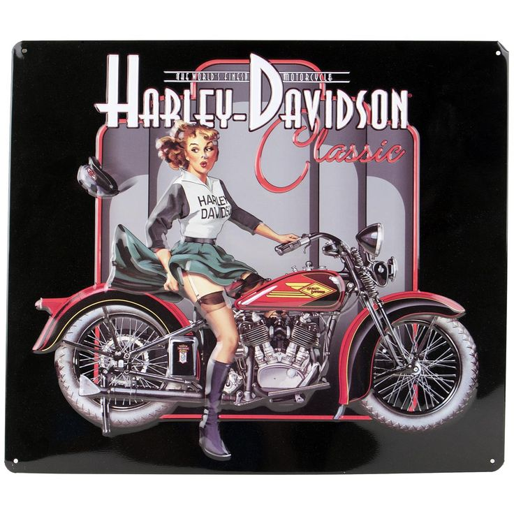 Tin Sign - HD Classic Pin Up Babe - Harley Davidson, AR2010601