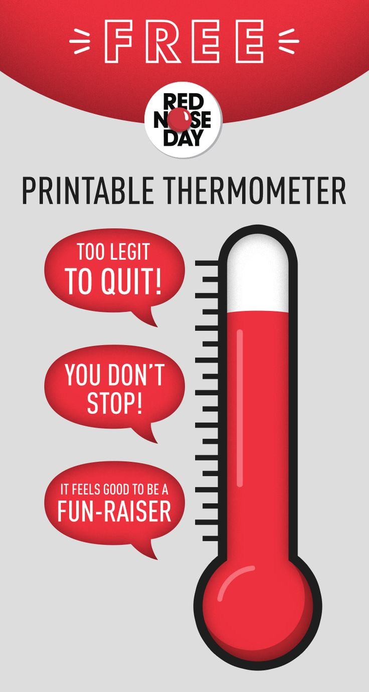 Are you too legit to quit? Track how well your FUN-raising team is doing by coloring in this free printable thermometer as you raise donation dollars!  Learn more about #RedNoseDay by visiting rednoseday.org. | Red Nose Day USA