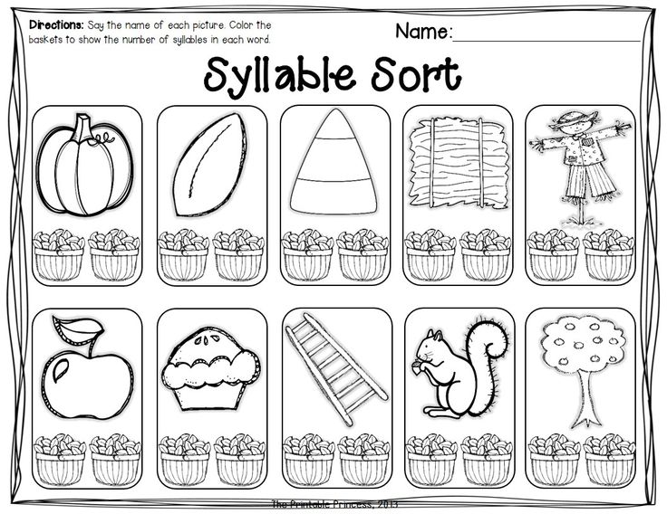 Beginning syllable practice.... and other activities perfect for fall.. perfect for the beginning of Kinder!