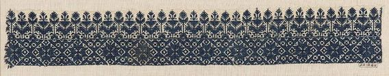 Embroidery fragment      Moroccan   Dimensions      Overall: 7 x 44.8 cm (2 3/4 x 17 5/8 in.)  Medium or Technique      Cotton and silk; embroidery  Classification      Textiles   Accession Number      22.260