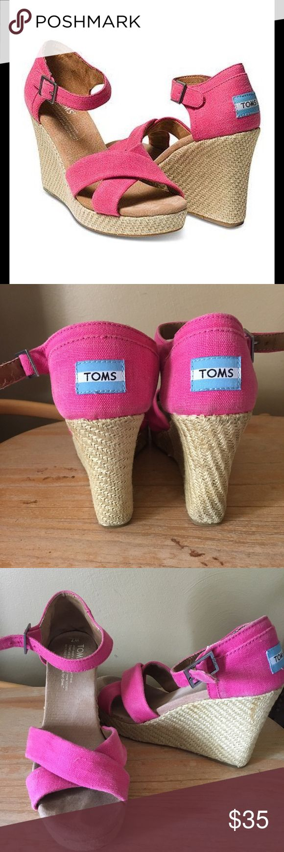 Euc pink wedge TOMS These are preloved but in great condition. I also have a pair of blue ones. Bundle for discount ! TOMS Shoes Wedges